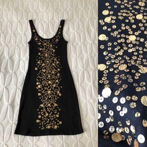 VICTORIA'S SECRET Black Gold Detail Tank Dress
